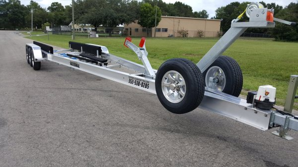 National Trailer - Custom Aluminum Boat Trailer Tri Axle with Bow Catcher - High Performance - Aluminum Boat Trailers