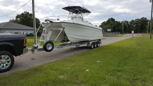 National Trailer -  Catamarian Boat - Center Console  - Aluminum Boat Trailer -  Custom Trailer - Custom Boat Ladder - Heavy Duty - High Performance - Aluminum Boat Trailers