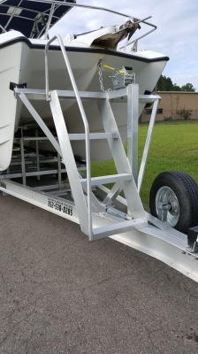 National Trailer -  Catamarian Boat - Center Console  - Aluminum Boat Trailer -  Custom Trailer - Custom Boat Ladder - Heavy Duty - High Performance - Aluminum Boat Trailers