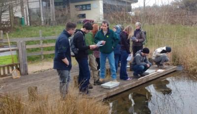 Training session around pond