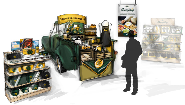 Rendering of Lambeau Stadium Homegating Merchandise Display