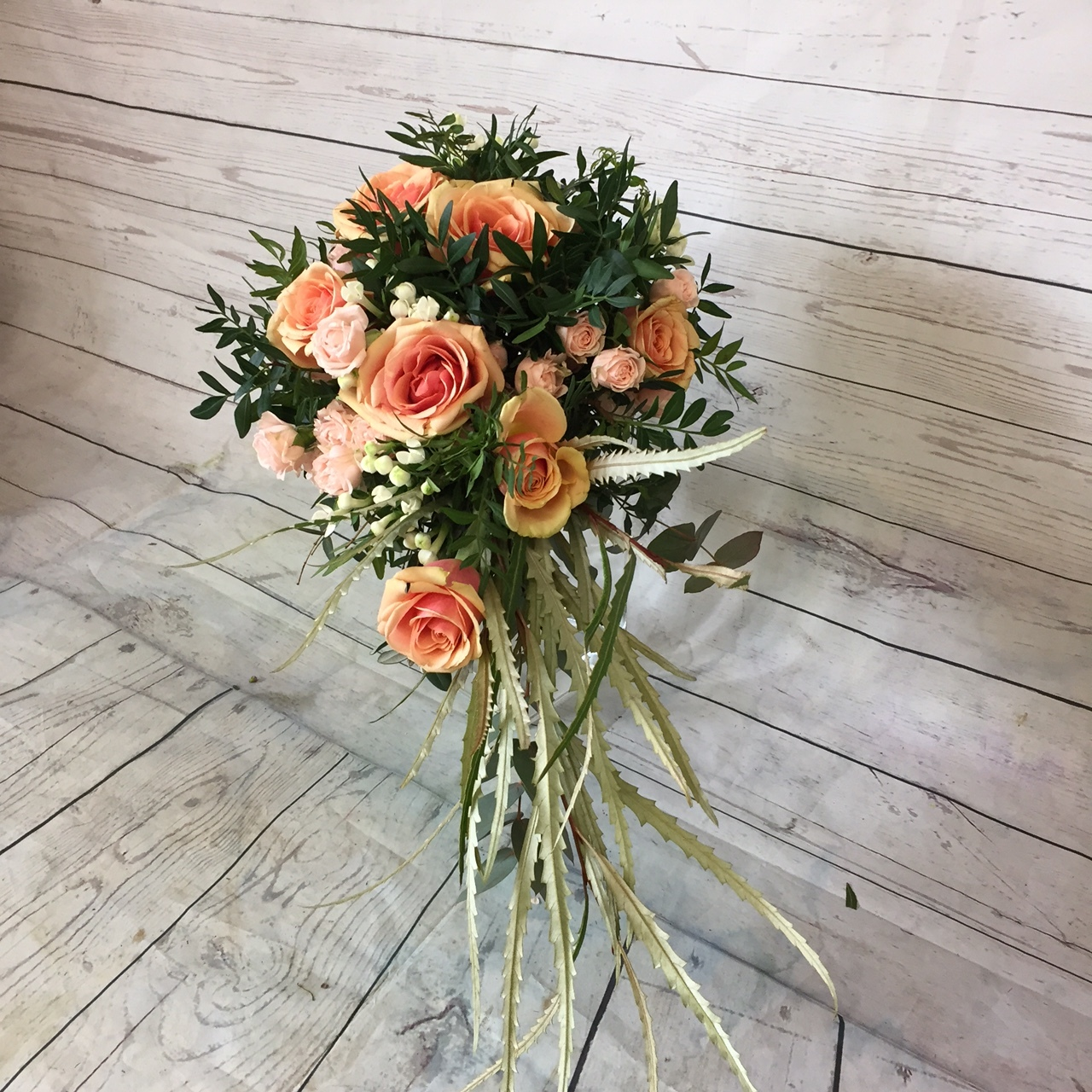 Trailing bridal bouquet