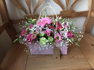PINK GIFT BAG BOUQUET A selection of pretty florals, the perfect birthday gift