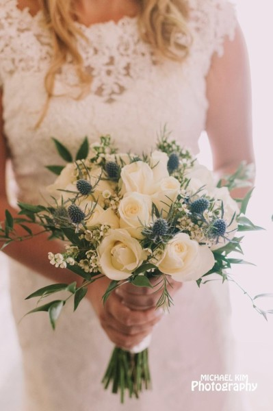 Rose and blue thistle bridal hand-tied