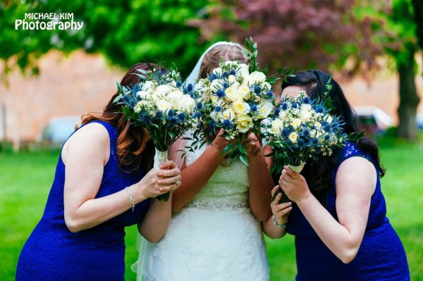 Blue themed bridesmaids hand-tied bouquets