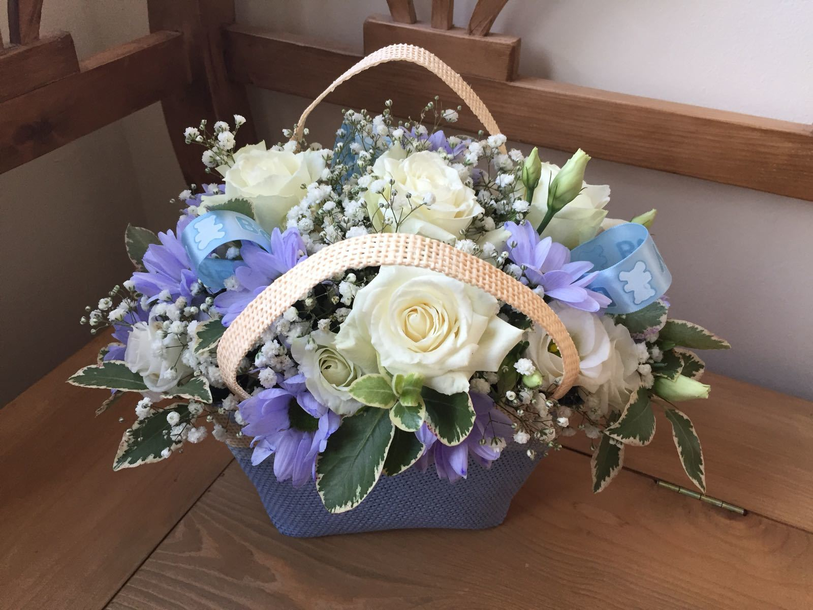 BLUE BIRTH ANNOUCEMENT GIFT BASKET Blue or pink for a new arrival