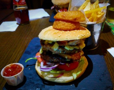 double stacked burger