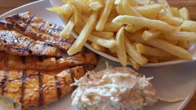chicken, chips, coleslaw