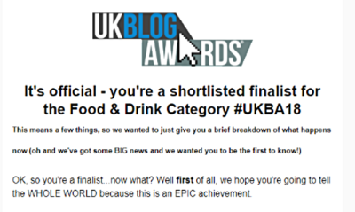I'm A Finalist in the UK Blog Awards