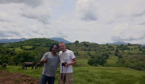 Suci Liao, a tour leader from China with Christian Peter, Flores Guide Driver