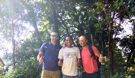Melvin Gatt and Clyde Micallef from Malta with Christian Peter, Flores Guide Driver