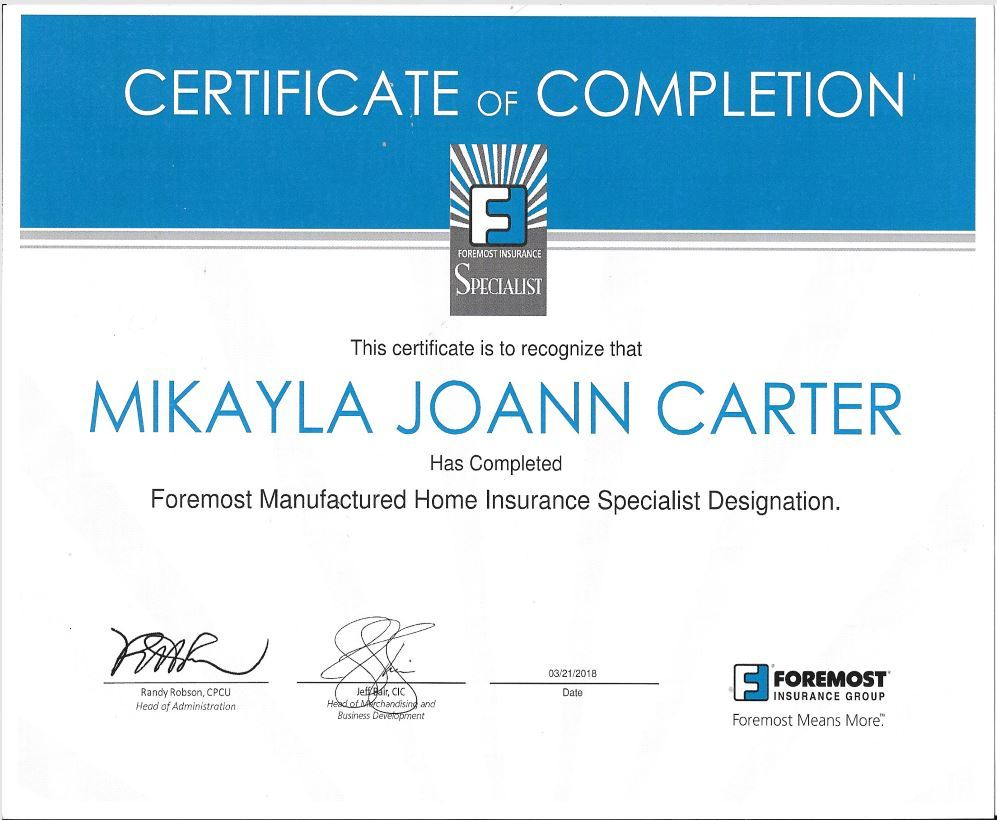 Foremost Designated Manufactured Home Specialist