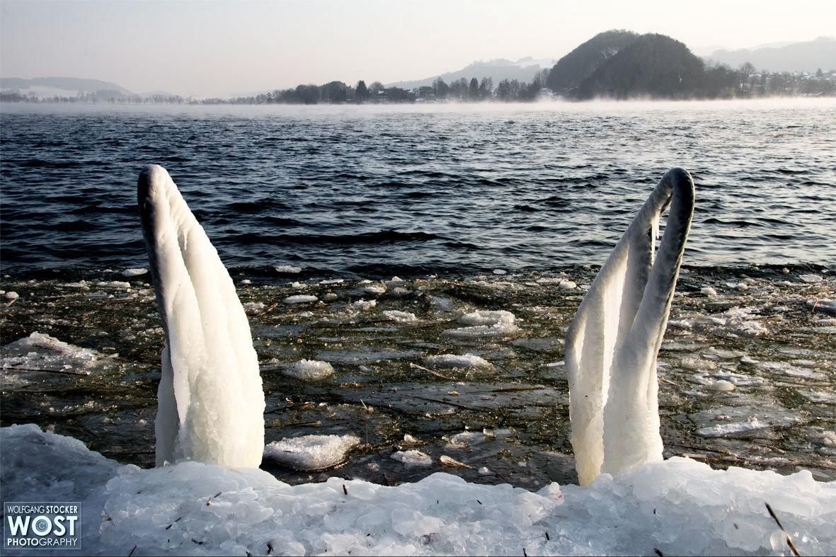 Frozen lake in Salzburg, Austria