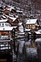 Hallstatt in Upper Austria in Winter seen from the lake