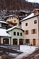 Traditional houses of Hallstatt in Upper Austria in Winter