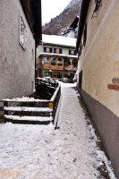 Snow on the tight alley of Hallstatt in Upper Austria in Winter