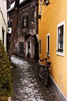 Tight alley in Hallstatt in Upper Austria in Winter