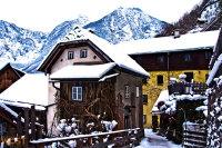 Traditional houses in Hallstatt in Upper Austria in Winter