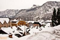 Village of Hallstatt in Upper Austria in Winter