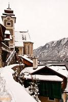 Village with church of Hallstatt in Upper Austria in Winter