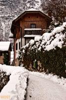 Traditional house in Hallstatt in Upper Austria in Winter