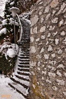Stairway in  Hallstatt in Upper Austria in Winter