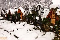 Graves at the cemetery in Hallstatt in Upper Austria in Winter