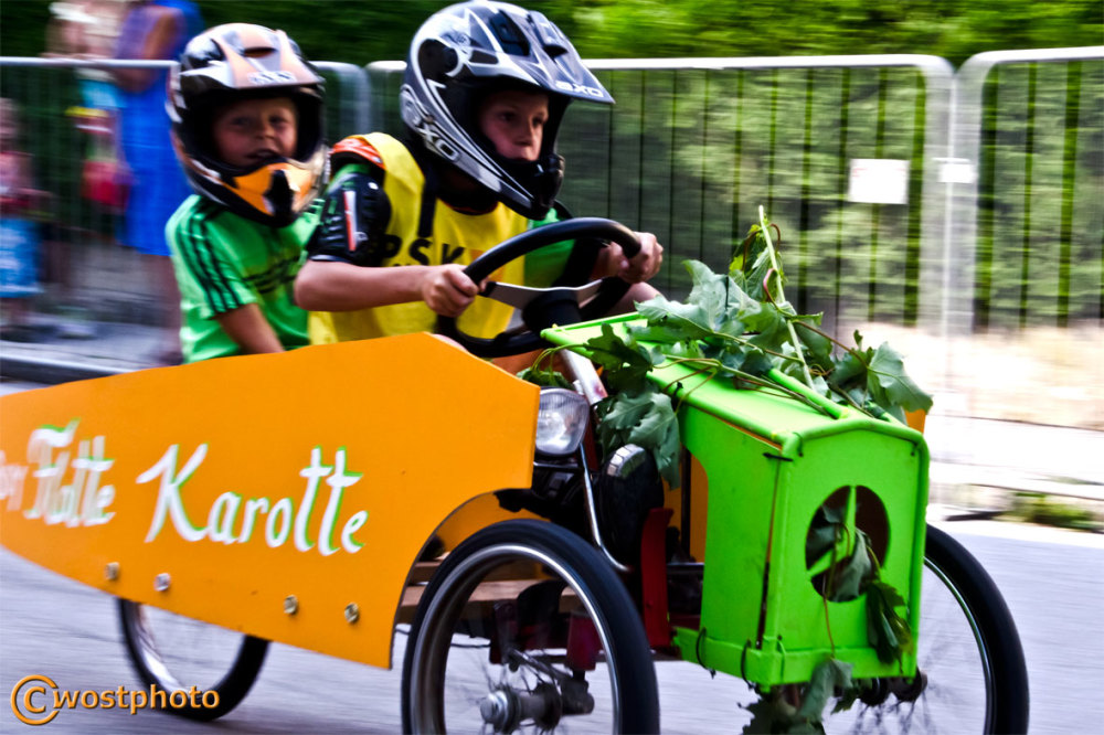 Soap box racer in action in Werfen, Salzburg/Austria