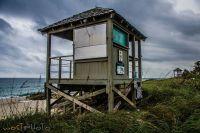 Wooden lifeguard house at the cloudy beach in Deerfield Beach, Florida, USA