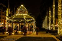 Mizner Place Pavilion in Boca Raton, Florida, USA illuminated and decorated for Christmas.