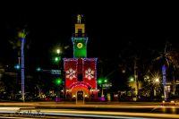 Night shot of Christmas lights and decoration on Royal Palm Palace in Boca Raton, Florida, USA