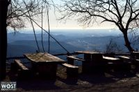View to the mediterranean sea from a wooden seating area in Castelmonte near Cividale in Friuli, Italy