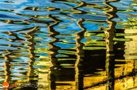 Colorful reflecting water surface creating a water color painting