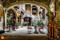 Old historic backyard in Barcelona, Spain