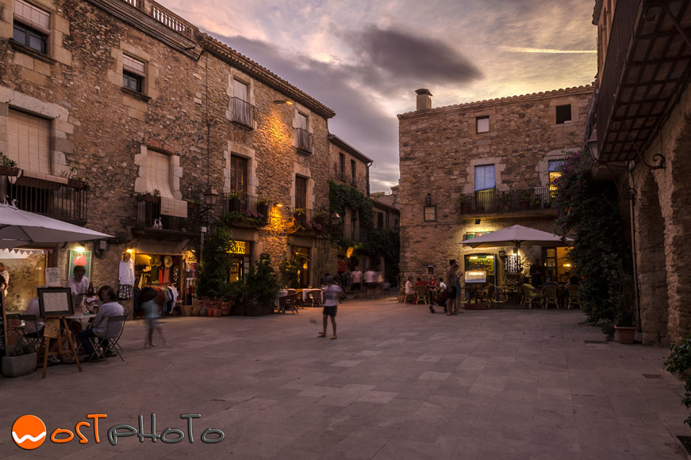 The charming medieval town of Peratallada in Catalonia, Spain in the evening hours
