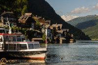 Boat landing stage in Hallstatt in Upper Austria in Summer