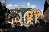 Traditional houses at the market square in Hallstatt in Upper Austria