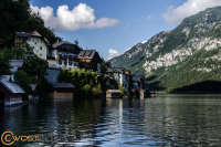 Hallstatt in Upper Austria in Summer seen from the lake