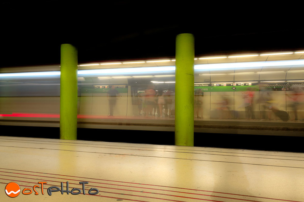 long exposure shot of the driving by metro in Barcelona
