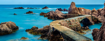 Costa Brava, Spain, catalonia, ocean, sea, stone-bridge, callet-canyet, Tossa-de-Mar, wostphoto, wolfgang-stocker,