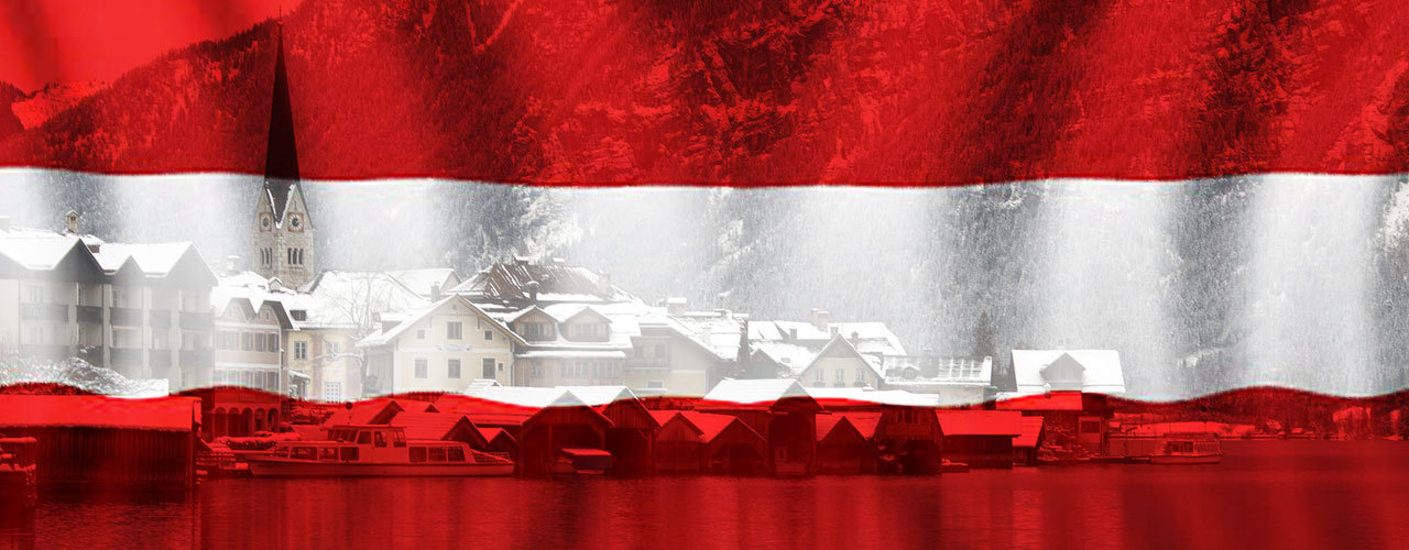 Composite of the Austrian flag and Salzkammergut village Hallstatt in Upper Austria, Austria