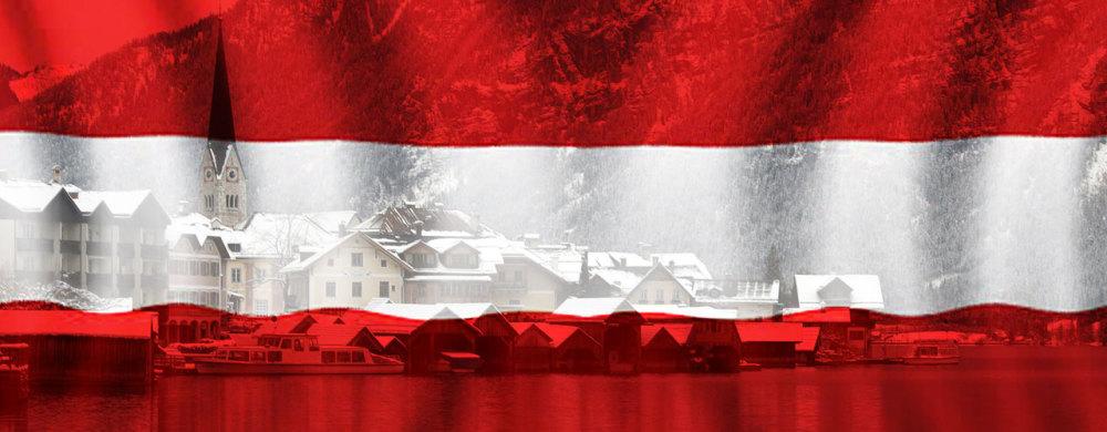 Comosite of the Austrian flag and the Salzkammergut village Hallstatt in Upper Austria, Austria