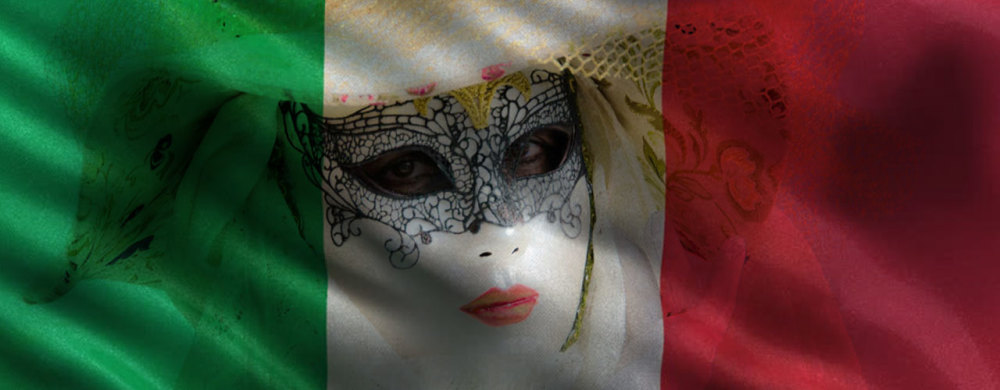 Composite of the italian flag and a Venetian mask