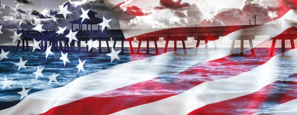 Composite of the American flag and a pier in Florida, USA
