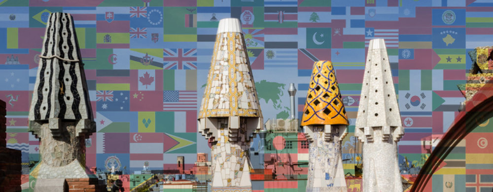 Composite of a variety of flags of the world and Gaudi sculptures in Barcelona, Spain
