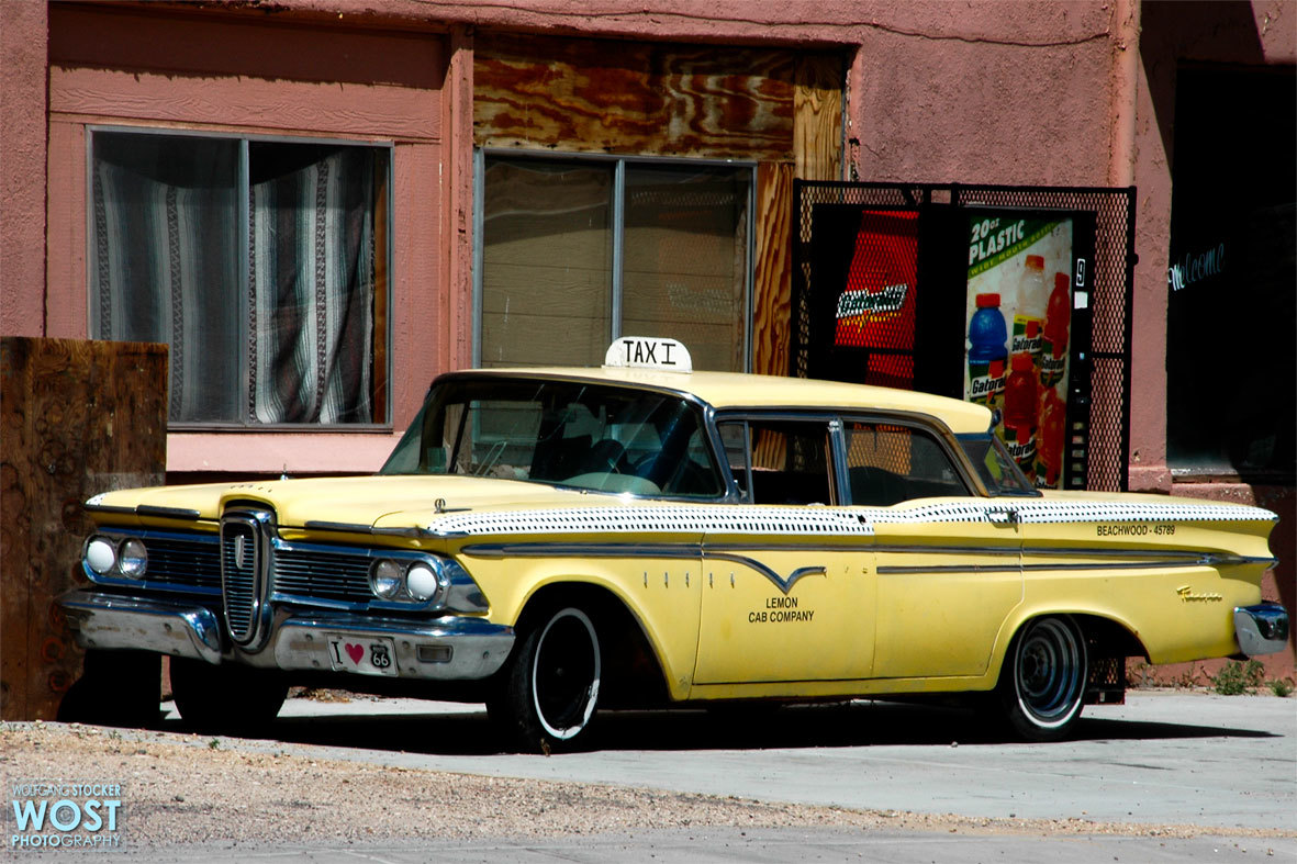 Old yellow car on Route 66 in Seligman, Arizona/USA