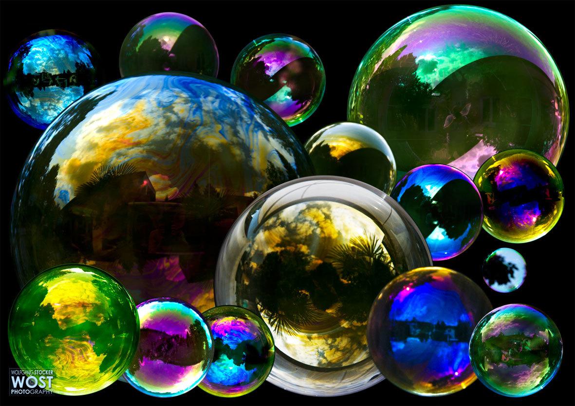 Huge colorful soap bubble