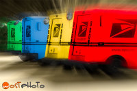 Colorful composite of US mail trucks