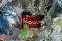 Campbell's soup can diving into water