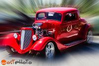 Composite of red vintage car